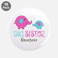 "Personalized Big Sister Elephant 3.5"" Button (10 p"