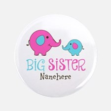 "Personalized Big Sister Elephant 3.5"" Button"