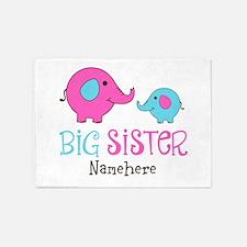 Personalized Big Sister Elephant 5'x7'Area Rug