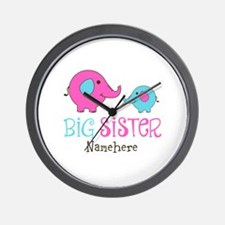 Personalized Big Sister Elephant Wall Clock