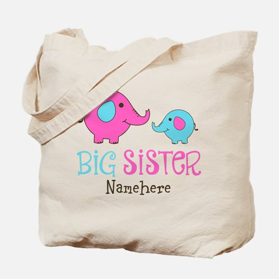 Personalized Big Sister Elephant Tote Bag