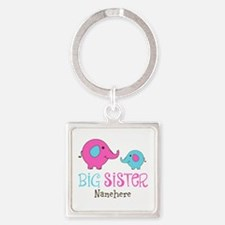 Personalized Big Sister Elephant Square Keychain