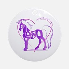 Alyssa purple horse in a heart Ornament (Round)