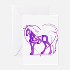 Alyssa purple horse in a heart Greeting Cards (Pac