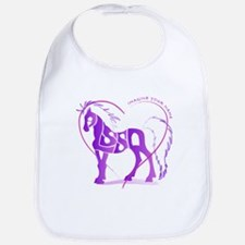 Alyssa purple horse in a heart Bib