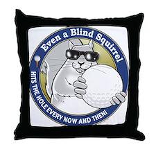 Golf Blind Squirrel Throw Pillow