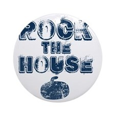 RockTheHouseBlue Round Ornament