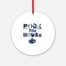 RockTheHouseBlue Round Ornament