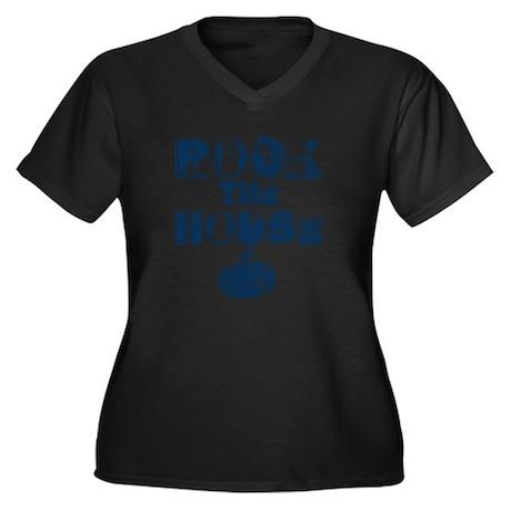 RockTheHouse Women's Plus Size Dark V-Neck T-Shirt