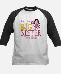 Stick Figure Flower Big Sister Kids Baseball Jerse