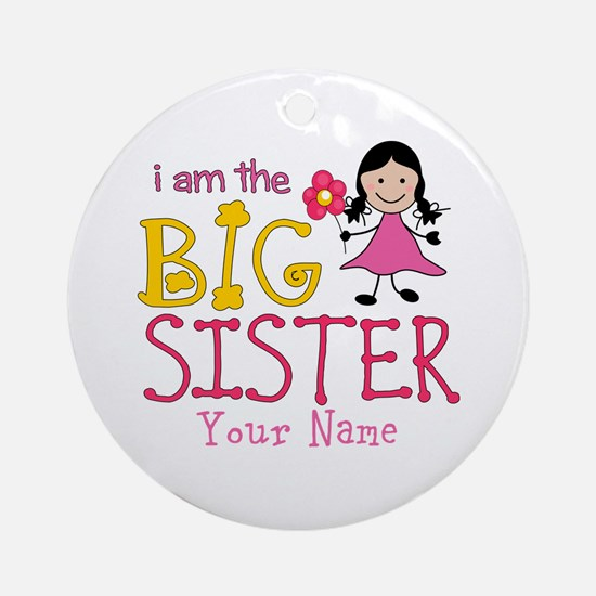 Stick Figure Flower Big Sister Ornament (Round)