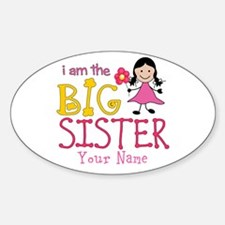 Stick Figure Flower Big Sister Sticker (Oval)