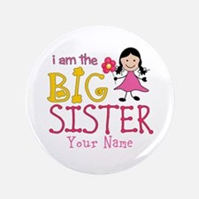 "Stick Figure Flower Big Sister 3.5"" Button (100 pa"