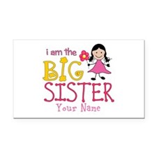 Stick Figure Flower Big Sister Rectangle Car Magne