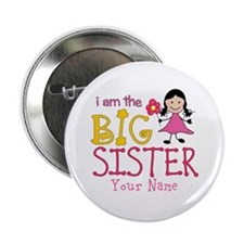 "Stick Figure Flower Big Sister 2.25"" Button (100 p"