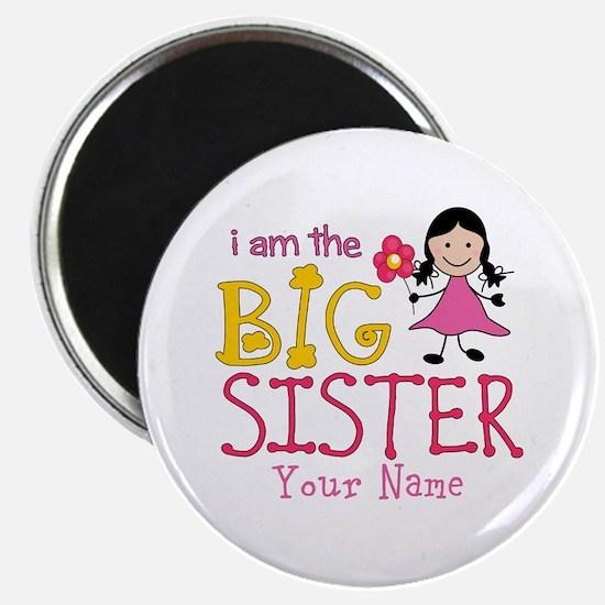 """Stick Figure Flower Big Sister 2.25"""" Magnet (100 p"""
