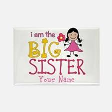 Stick Figure Flower Big Sister Rectangle Magnet