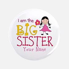"Stick Figure Flower Big Sister 3.5"" Button"