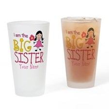 Stick Figure Flower Big Sister Drinking Glass
