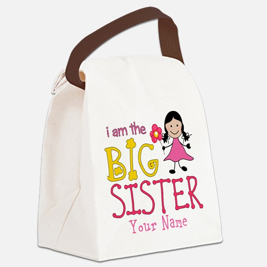 Stick Figure Flower Big Sister Canvas Lunch Bag