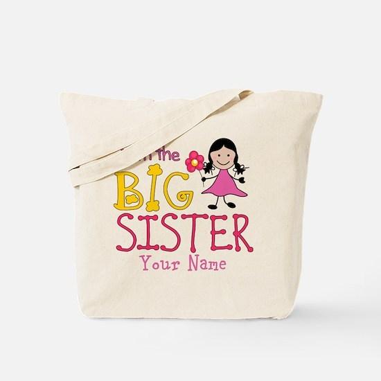 Stick Figure Flower Big Sister Tote Bag