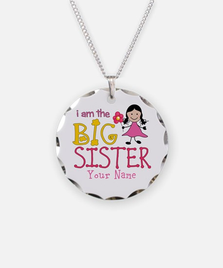 Stick Figure Flower Big Sister Necklace Circle Cha