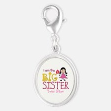 Stick Figure Flower Big Sister Silver Oval Charm