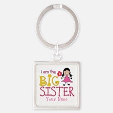 Stick Figure Flower Big Sister Square Keychain