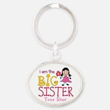 Stick Figure Flower Big Sister Oval Keychain