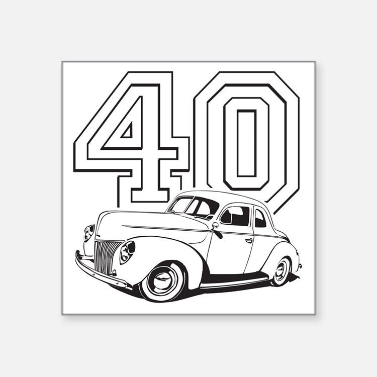 "40 ford white Square Sticker 3"" x 3"""