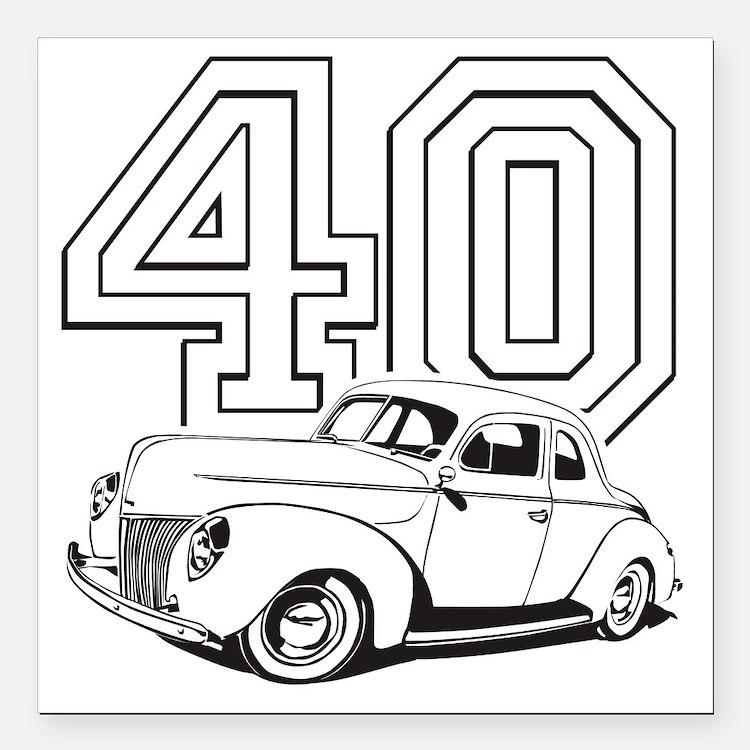 "40 ford white Square Car Magnet 3"" x 3"""
