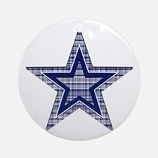 Blue and Silver Plaid Ornament (Round)
