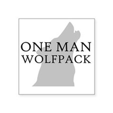 """ONE MAN PACK WHITE Square Sticker 3"""" x 3"""""""