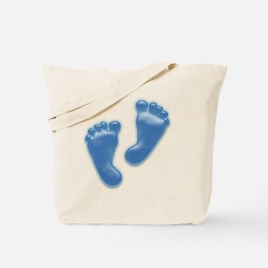 Baby Feet in Blue Tote Bag