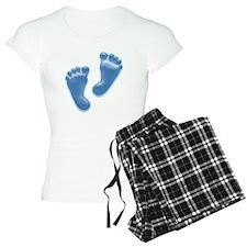Baby Feet in Blue Pajamas