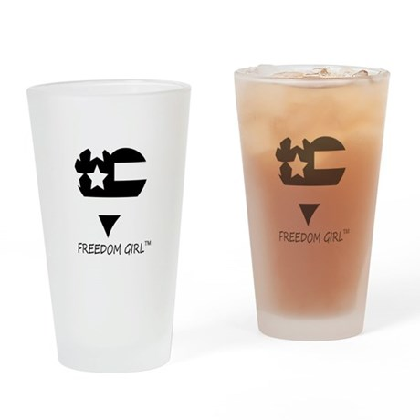 Freedom_Girl_basic_logoblk Drinking Glass