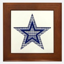 Blue and Silver Plaid Framed Tile