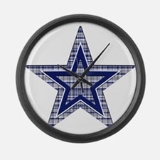 Blue and Silver Plaid Large Wall Clock