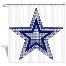 Blue and Silver Plaid Shower Curtain