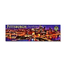 Pittsburgh City of Bridges Car Magnet 10 x 3