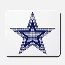 Blue and Silver Plaid Mousepad