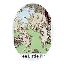 Three-Little-Pigs Oval Ornament