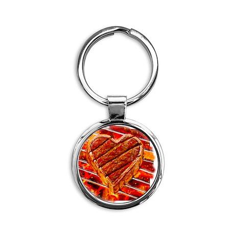 Steak Lover Round Keychain