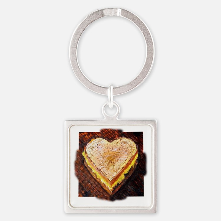 I Love Grilled Cheese Square Keychain