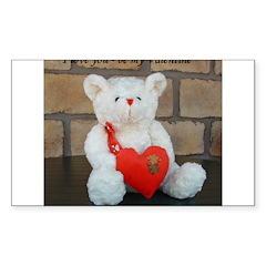 Valentine Teddy Bear Rectangle Decal