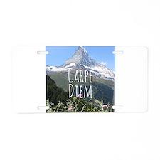 Carpe Diem - Climb a Mountain Aluminum License Pla