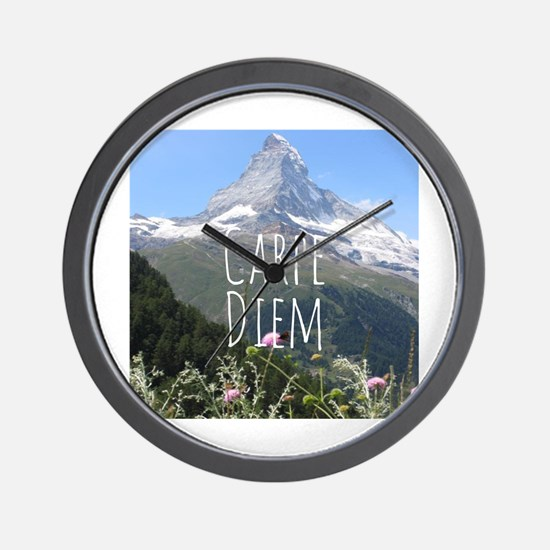 Carpe Diem - Climb a Mountain Wall Clock