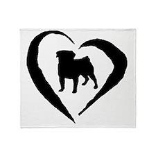 Pug Heart Throw Blanket