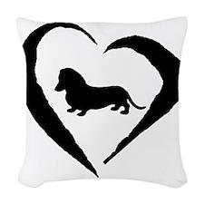 Wiener1 Heart Woven Throw Pillow