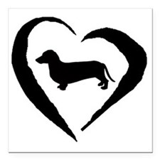 "Wiener2 Heart Square Car Magnet 3"" x 3"""